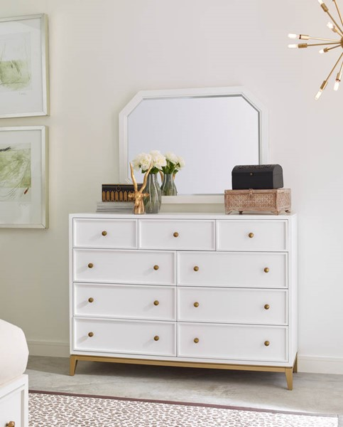 Legacy Furniture Chelsea by Rachael Ray White Gold Dresser and Mirror LGC-9781-1500-DRMR