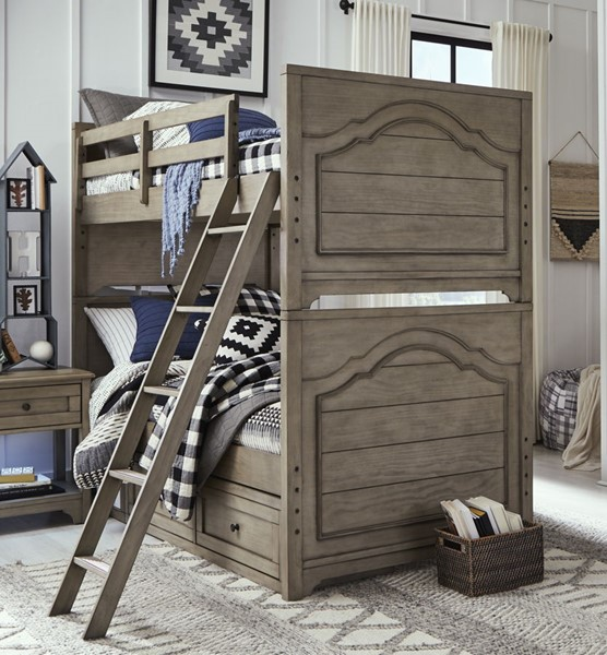 Legacy Kids Farm House Old Crate Brown Twin over Twin Bunk Bed With Trundle Storage Drawer LGC-9950-8110-9500-BNK-BED-S1