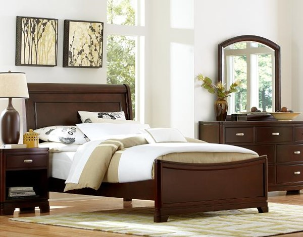 Park City Contemporary Cherry 5pc Bedroom Set W/Queen Panel Bed LGC-9980-4305K-QB-S