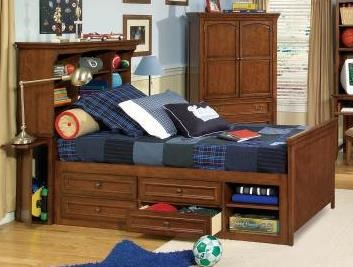 American Spirit Casual Brown Cherry Twin Bookcase Bed 3/3 LGC-490-8333K-BCTBTS