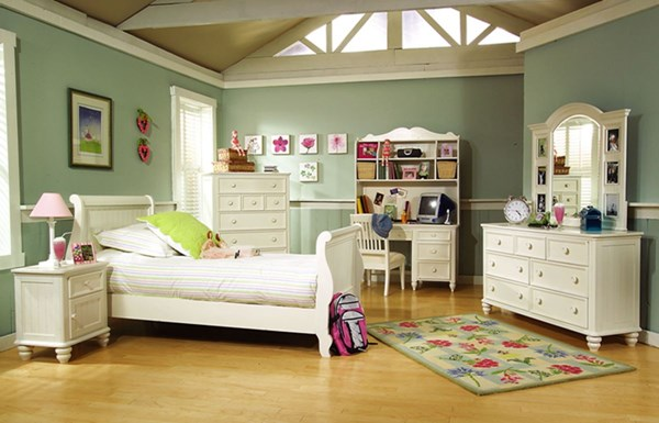 Summer Breeze Off White Wood 4pc Kids Bedroom Set W/Sleigh Beds LGC-481-4303-SL-S-VAR