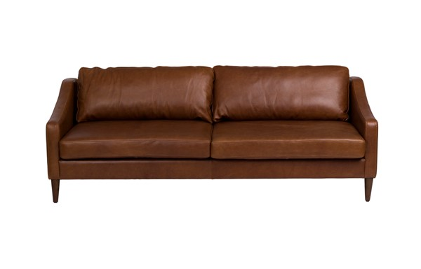 LH Imports Seating Las Vegas Brown Pecan Leather Rubberwood Paris Sofa LHI-PAR-18