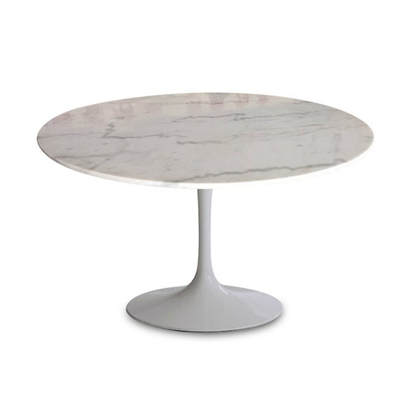 LH Imports Villa Mar White Marble Sleek Matte White Base Valencia Round Dining Table LHI-VM011-MW