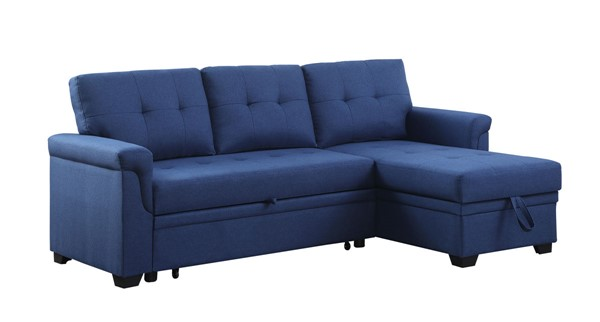 Lilola Home Lucca Blue Linen Reversible Sectional with Storage Chaise LILO-81340BU