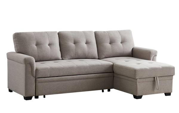 Lilola Home Lucca Light Gray Linen Reversible Sectional With Storage Chaise LILO-81340