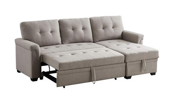 Lilola Home Lucca Light Gray Linen Reversible Sleeper Sectional LILO-81340