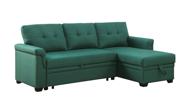 Lilola Home Lucca Green Linen Reversible Sectional with Storage Chaise LILO-81340GN