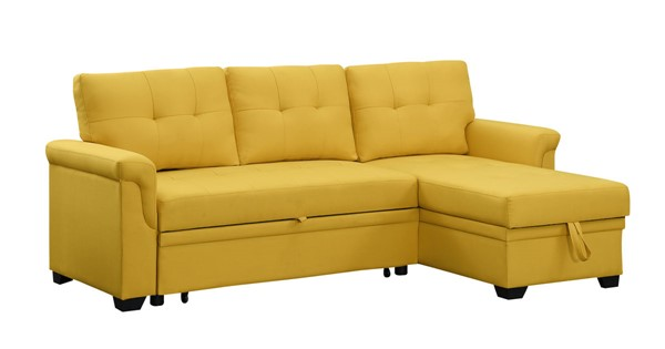 Lilola Home Lucca Yellow Linen Reversible Sectional with Storage Chaise LILO-81340YW