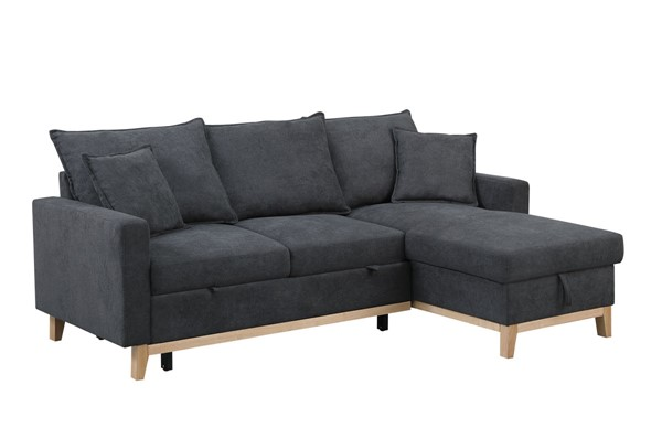 Lilola Home Colton Dark Gray  Woven Sectional with Storage Chaise LILO-81344