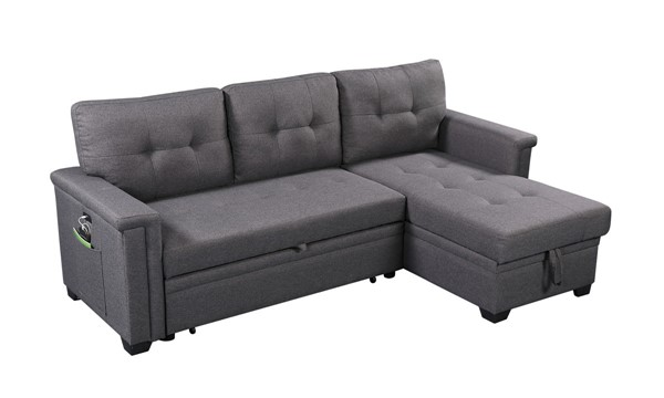 Lilola Home Ashlyn Dark Gray Reversible Sleeper Sofa with Storage Chaise LILO-81382