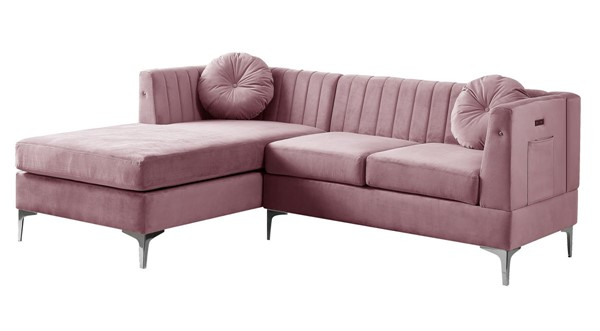 Lilola Home Chloe Pink Velvet Sofa Chaise with USB Charging Port LILO-81399