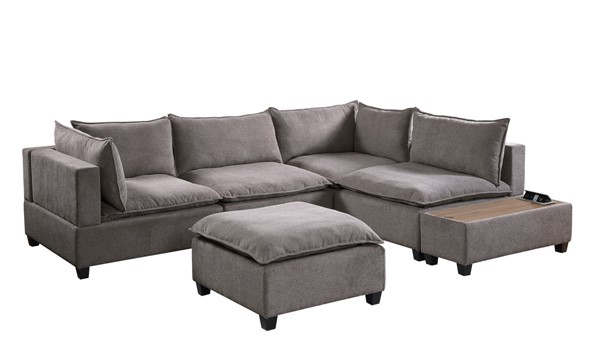 Lilola Home Madison Light Gray Fabric 6pc Sectional with Storage Console LILO-81400-10