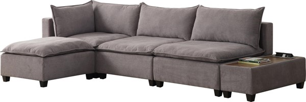 Lilola Home Madison Light Gray Fabric 5pc Sectional With Storage Console LILO-81400-7