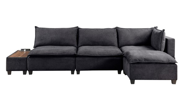 Lilola Home Madison Dark Gray Fabric 5pc Sectional with Storage Console LILO-81401-7