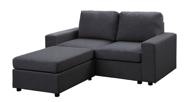 Lilola Home Arroyo Dark Gray Linen Loveseat with Ottoman LILO-81801-10