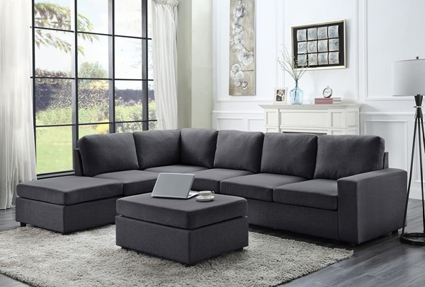 Lilola Home Cassia Sectionals with Ottoman LILO-8180-7-SEC-VAR