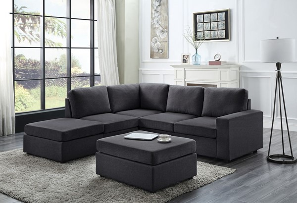 Lilola Home Marta Sectional with Ottomans LILO-8180-8-SEC-VAR