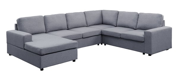 Lilola Home Warren Light Gray Sectional with Reversible Chaise LILO-81802-4