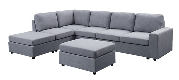 Lilola Home Cassia Light Gray Sectional with Ottoman LILO-81802-7