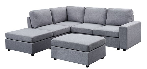 Lilola Home Marta Light Gray Sectional with Ottoman LILO-81802-8
