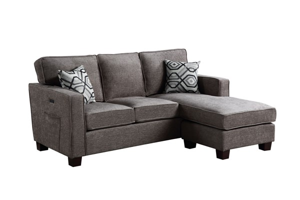 Lilola Home Isaac Gray Fabric Sectional LILO-81812