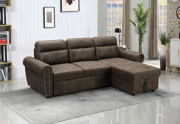 Lilola Home Ashton Saddle Brown Reversible Sleeper Sectional LILO-87800