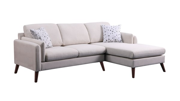 Lilola Home Founders Beige Cotton Blended Fabric Sectional Sofa Chaise LILO-87806