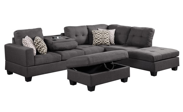Lilola Home Kourtney Dark Gray Reversible Sectional with Storage Ottoman LILO-87815