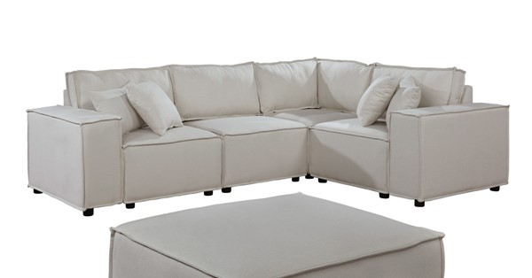 Lilola Home Melrose Beige Sectional with Ottoman LILO-89116-4