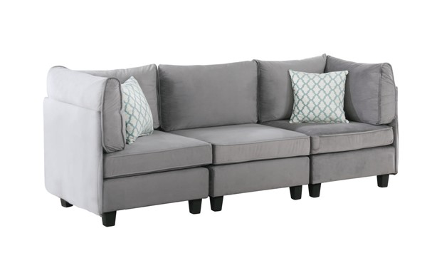 Lilola Home Zelmira Gray Velvet 3pc Sofa LILO-88019-8