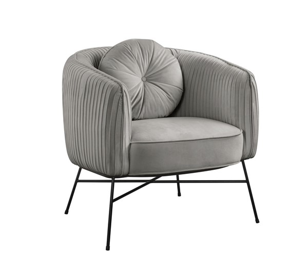 Lilola Home Scarlett Gray Velvet Accent Chair with Metal Base LILO-88875