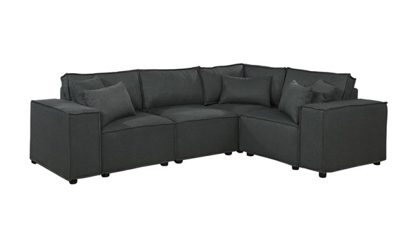 Lilola Home Melrose Dark Gray Sectional with Ottoman LILO-89117-4