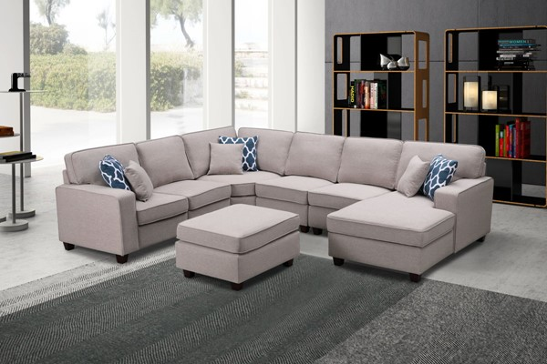 Lilola Home Willowleaf Linen 7pc Sectionals with Ottoman LILO-8912-1-SEC-VAR