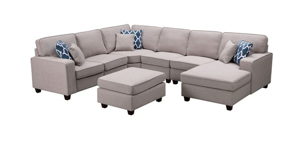 Lilola Home Willowleaf Light Gray Linen 7pc Sectional with Ottoman LILO-89120-1