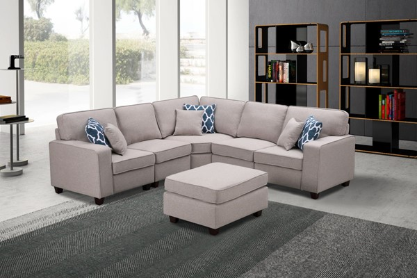Lilola Home Sonoma Linen 6pc Sectionals with Ottoman LILO-8912-3-SEC-VAR