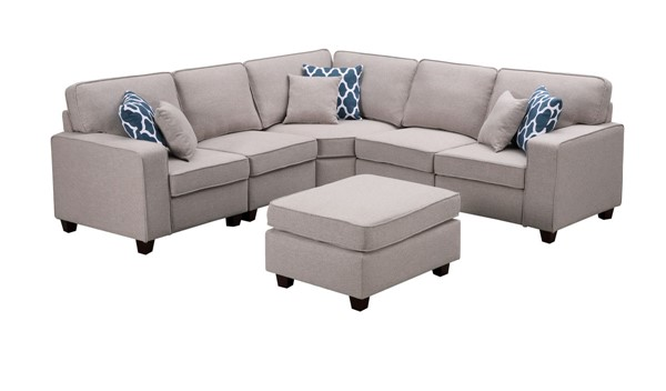 Lilola Home Sonoma Light Gray Linen 6pc Sectional with Ottoman LILO-89120-3