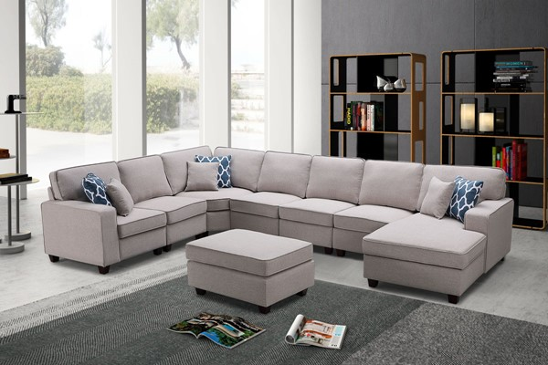 Lilola Home Irma Linen 8pc Sectionals with Ottoman LILO-8912-4-SEC-VAR