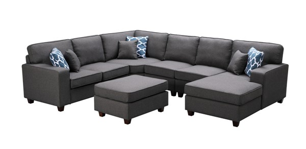Lilola Home Willowleaf Dark Gray Linen 7pc Sectional With Ottoman LILO-89122-1
