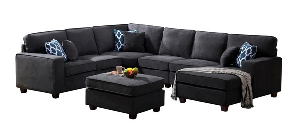 Lilola Home Jocelyn Dark Gray Woven 7pc Modular Sectional with Ottoman LILO-89124-1