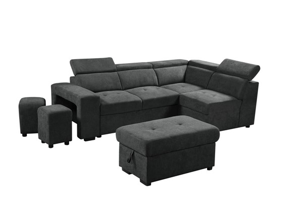 Lilola Home Henrik Sleeper Sectionals with Ottoman and 2 Stools LILO-8913-SEC-VAR