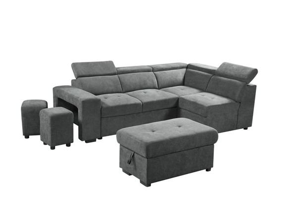Lilola Home Henrik Light Gray Sleeper Sectional with Ottoman and 2 Stools LILO-89135