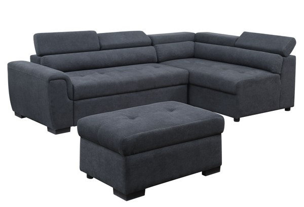 Lilola Home Haris Dark Gray Fabric Sectional with Adjustable Headrest LILO-89138