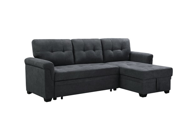 Lilola Home Lucca Dark Gray Fabric Reversible Sleeper Sectional LILO-89140