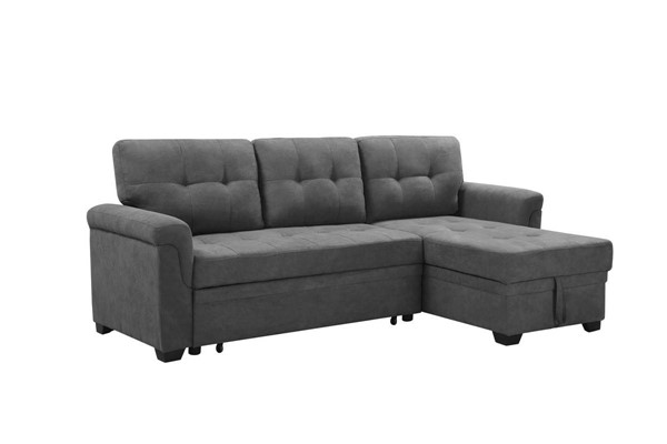 Lilola Home Lucca Gray Fabric Reversible Sleeper Sofa and Chaise LILO-89142