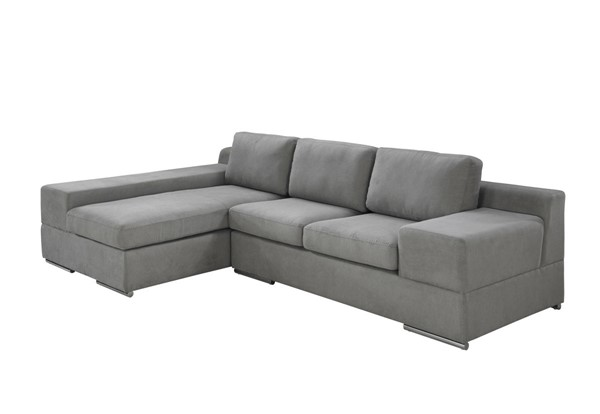 Lilola Home Romeo Light Gray Fabric Sectional with LAF Chaise LILO-89280