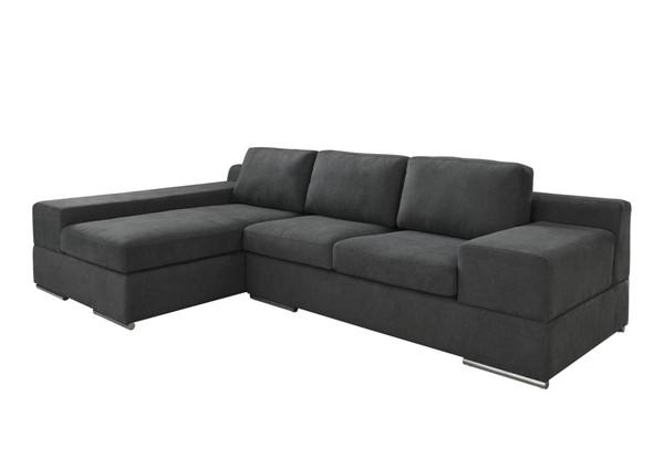 Lilola Home Romeo Dark Gray Fabric Sectional with LAF Chaise LILO-89282