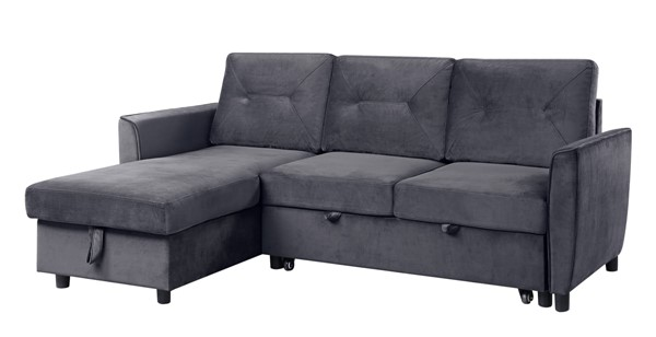 Lilola Home Hudson Dark Gray Velvet Reversible Sectional with Storage Chaise LILO-89330
