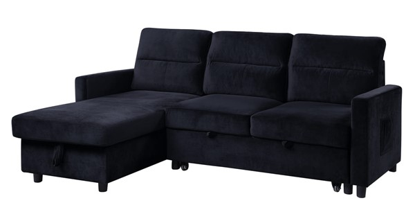 Lilola Home Ivy Black Velvet Reversible Sectional with Storage Chaise LILO-89331