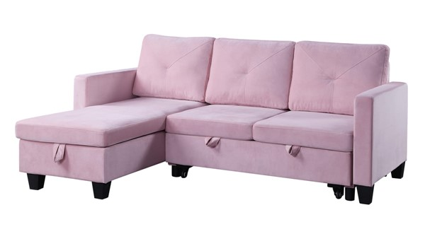 Lilola Home Nova Pink Velvet Reversible Sectional with Storage Chaise LILO-89332
