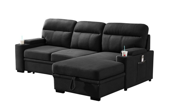 Lilola Home Kaden Black Fabric Sleeper Sectional LILO-89621